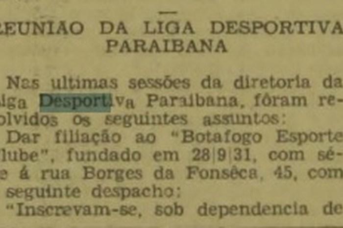 Há 86 anos Botafogo fazia primeiros jogos pelo Paraibano
