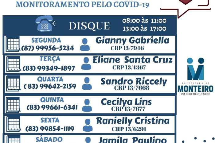 Prefeitura de Monteiro oferece apoio com psicólogos para pacientes e familiares em monitoramento pelo COVID-19