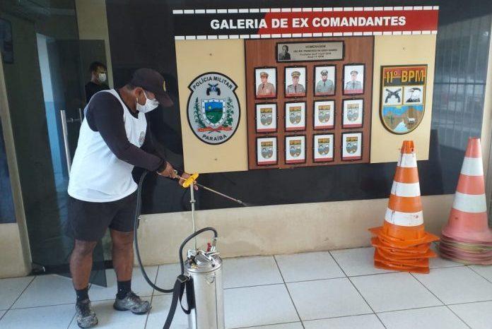 Em Monteiro 11º Batalhão de Polícia Militar passa por desinfecção para evitar Coronavírus