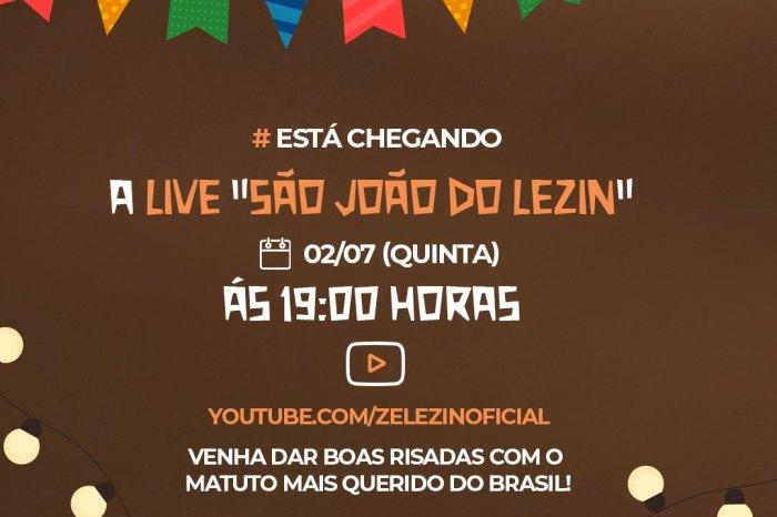 Zé Lezin realiza nova live beneficente no dia 2 de Julho