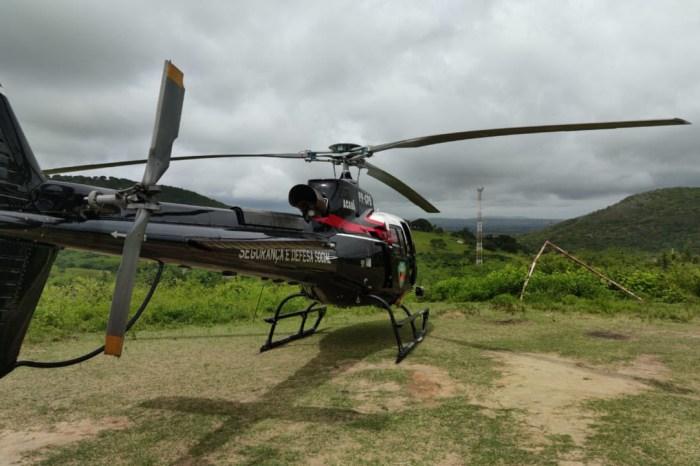 Segurança utiliza helicóptero Acauã e reforça policiamento na divisa da Paraíba e Pernambuco