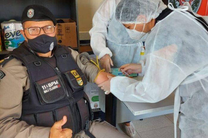 PMs passam por testes rápidos de Covid-19 na área da 3ª Companhia de Serra Branca