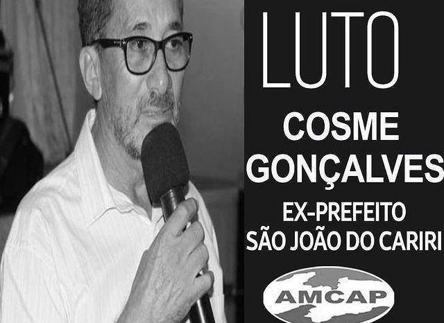 AMCAP se solidariza pelo falecimento do ex prefeito Cosme de São João do Cariri