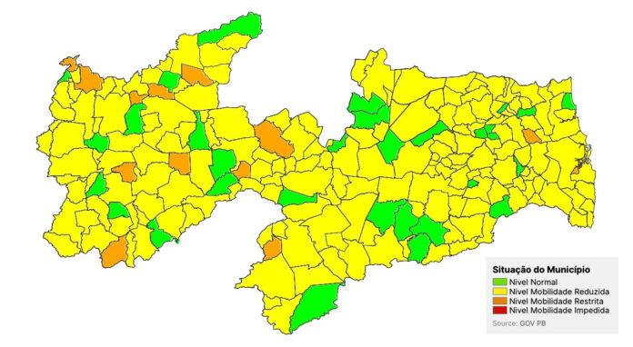 Paraíba segue com 80% das cidades classificadas na bandeira amarela