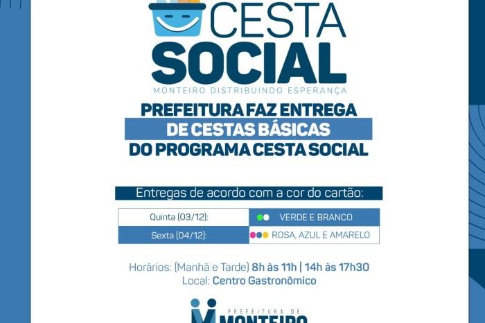 CESTA SOCIAL: 500 famílias começam a receber a Cesta Básica nesta quinta em Monteiro