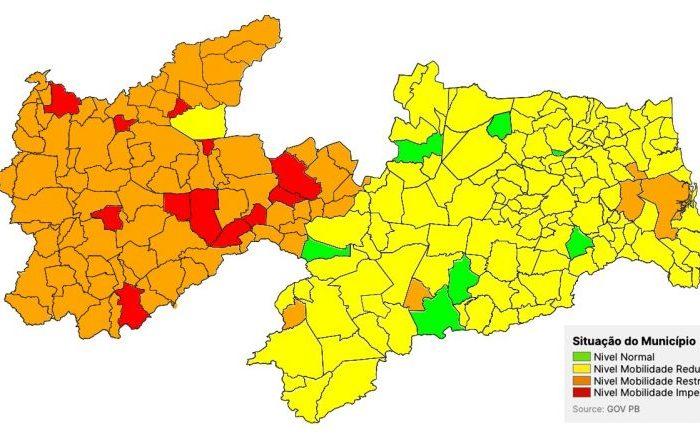 MOÍDOS DA REDAÇÃO: Paraíba volta a ter municípios na bandeira vermelha e 95% das cidades nas bandeiras laranja e amarela