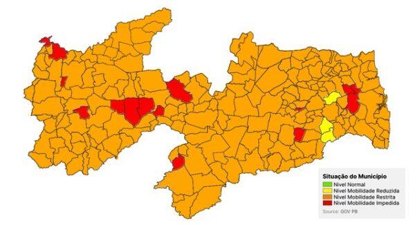 Plano Novo Normal: Paraíba tem 15 municípios classificados na bandeira vermelha