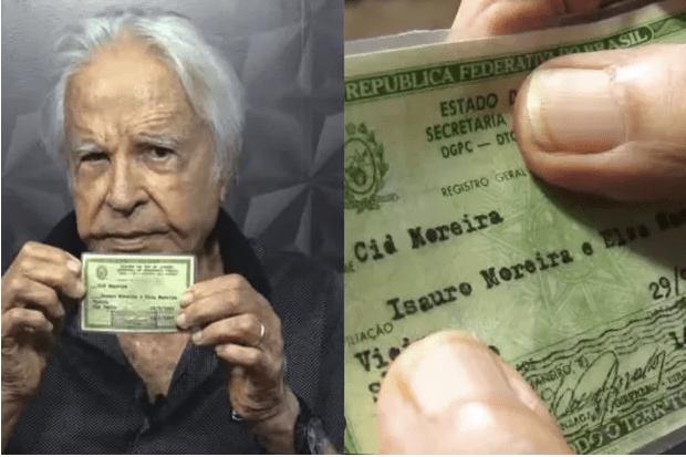 Cid Moreira mostra RG e comprova que não se chama Alcides