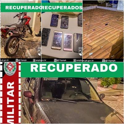 Polícia Militar recupera carro, moto e celulares roubados e prende criminoso na região do Cariri