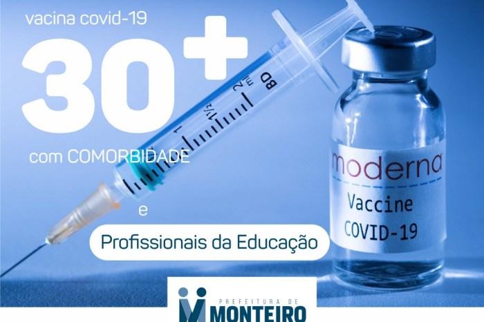 MONTEIRO: profissionais da educação serão vacinados a partir desta sexta-feira, 4