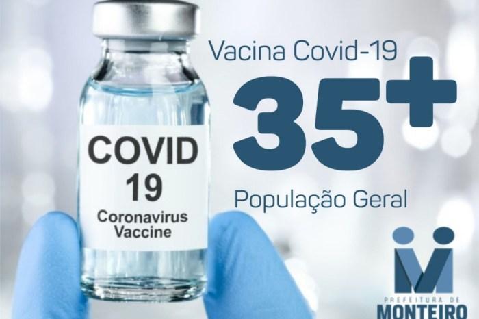EM MONTEIRO: População em geral acima de 35 anos será vacinada a partir deste sábado