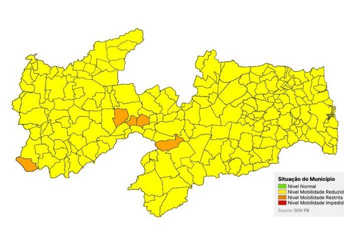 MOÍDOS DAS REDAÇÃO: Paraíba tem apenas 5 municípios em bandeira laranja e todos os demais em amarela
