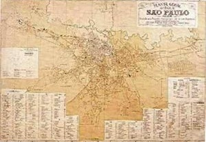 The historical scattered growth of the city can be checked in this 1905 map. The population at this time was around 130,730 inhabitants [REIS FILHO, Nestor Goulart, 2004]
