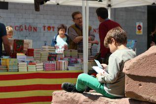 Un nen fulleja un llibre assegut al monument dedicat a Rafael Casanova // Jose Polo