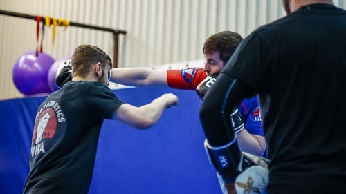 Arron and rob demonstrating in the Kickboxing class
