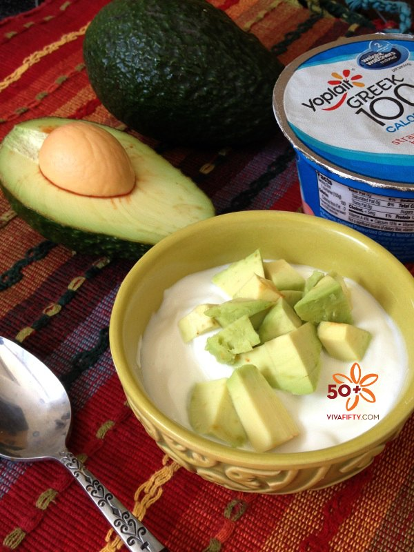 Yogurt and avocado snack hack for healthy eating