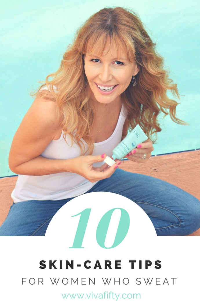 I work out every day and live in Florida. This means I sweat a lot. I have my tried and true system to take care of my skin. Check out these 10 tips. #skincare #midlife #active #beauty