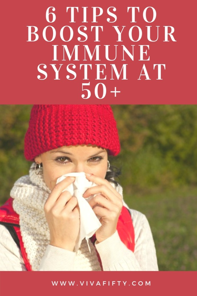 Studies have shown that as we age our immune systems tend to weaken. You can thank continued stress on your body, exposure to chemicals and radiation in the environment and the presence of age-related illnesses for your compromised immunity, but you don't have to sit back and let all those germs and viruses attack you. Here's a list of some great ways to boost your immunity after 50. #health #midlife #over50