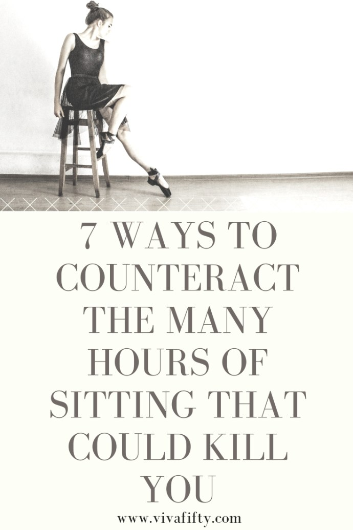 Sitting for long periods of time can be linked to a slew of healthy issues including heart disease, diabetes, high blood pressure and even cancer. Here are seven ways to counteract long hours of sitting and weave movement into your daily life! #fitness #exercise #midlife #health