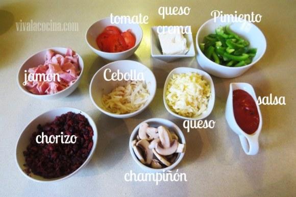 Ingredientes para el relleno del Calzone de chorizo
