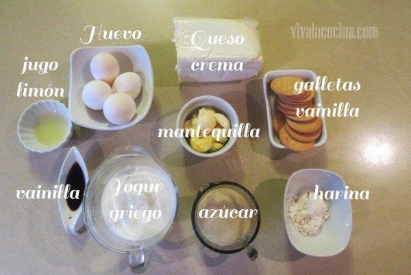 Ingredientes para la recta del cheesecake