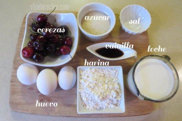 Ingredientes de la receta de Clafoutis de Cereza fácil de preparar
