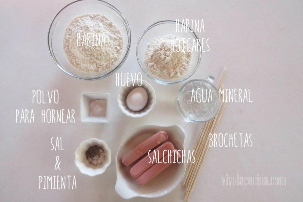 Ingredientes para las banderillas de salchicha