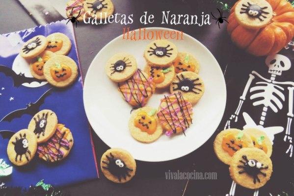 Galletas de naranja caseras con decoración de halloween