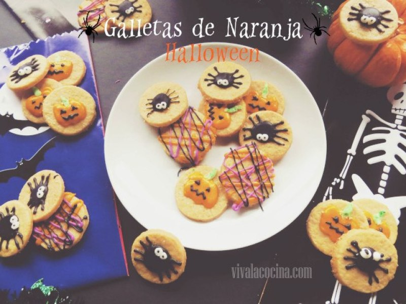 Galletas de naranja caseras con decoración de halloween