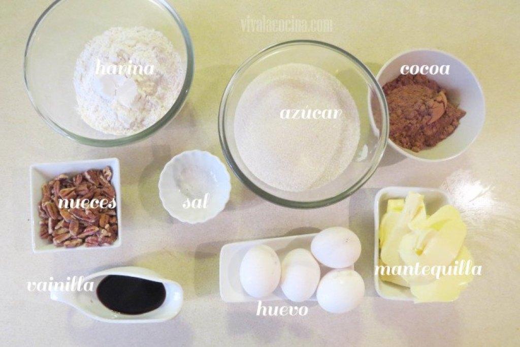 Ingredientes para la receta de Brownies con nueces Caseros