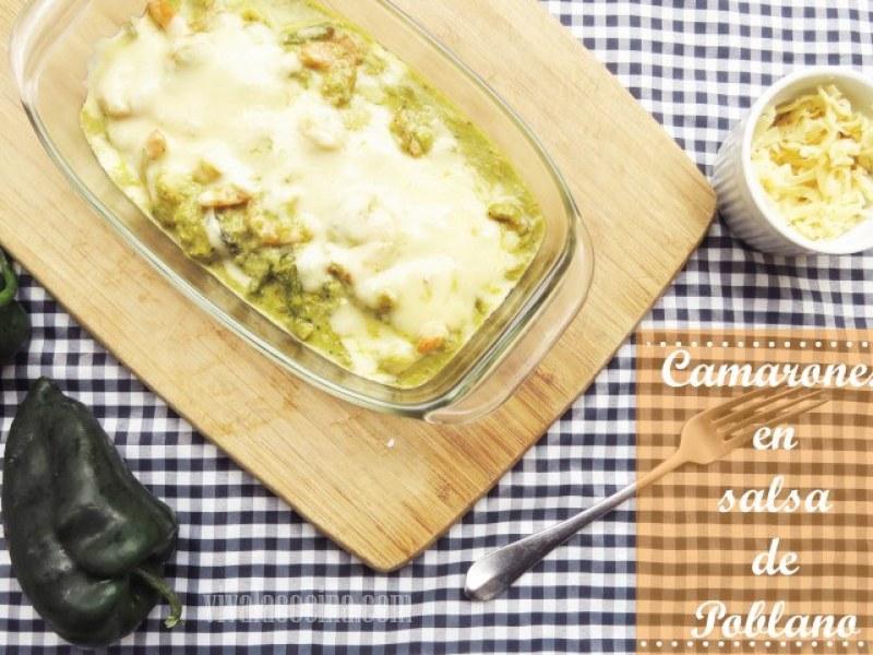receta de camarones en salsa de poblano