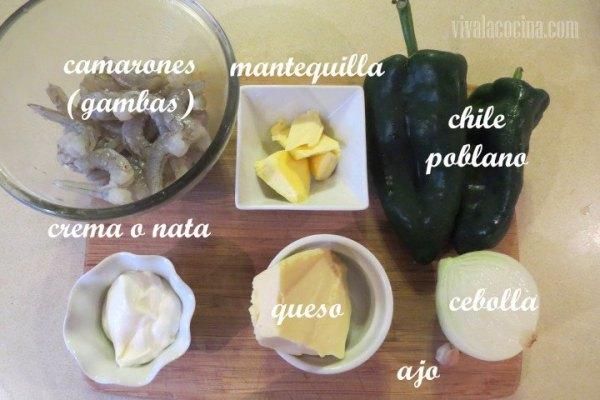 Ingredientes de receta con Camarones