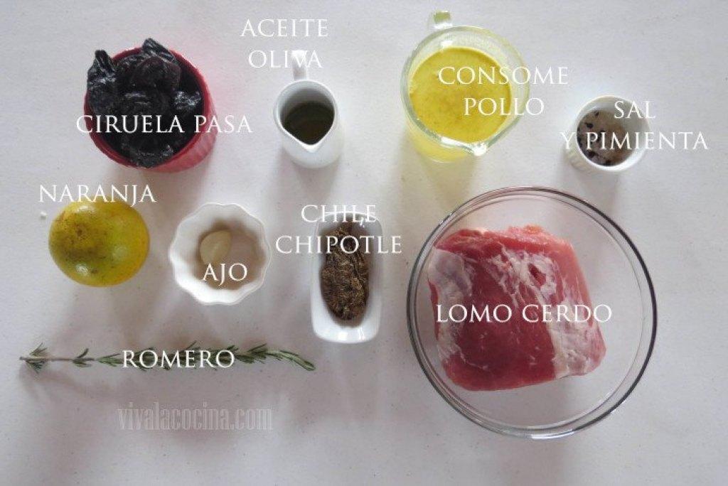 Ingredientes para la receta de lomo de cerdo