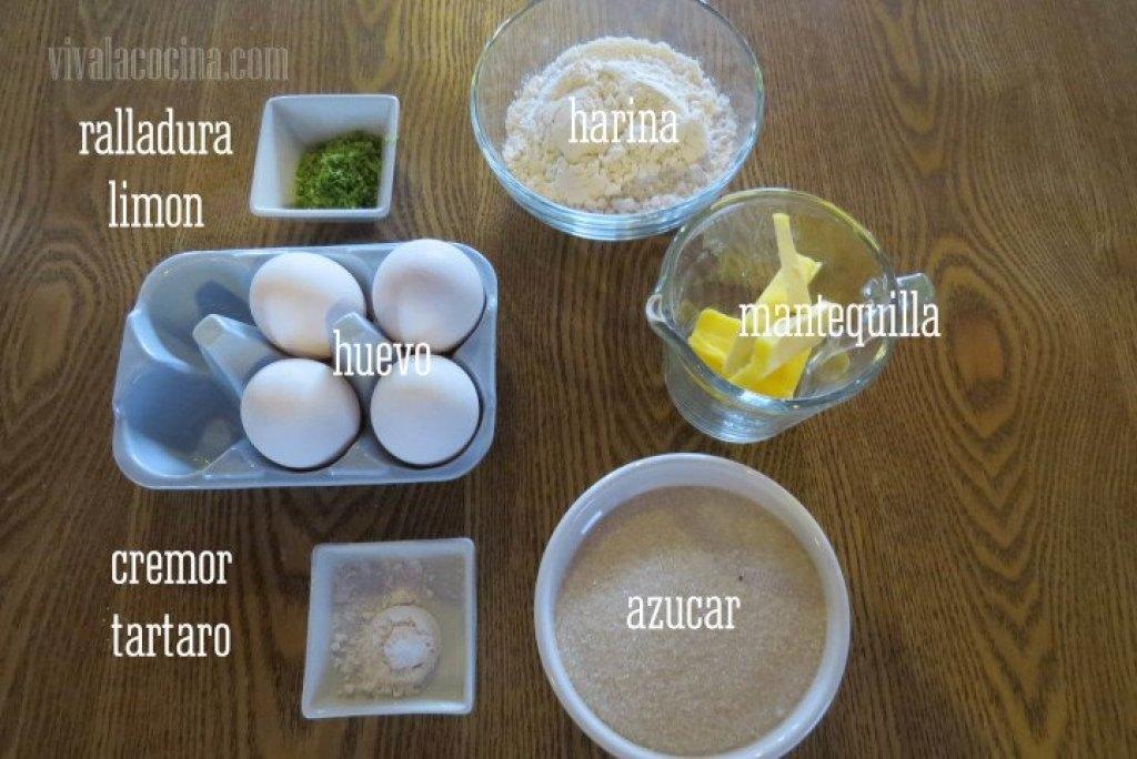 Ingredientes para el Bizcocho de limón