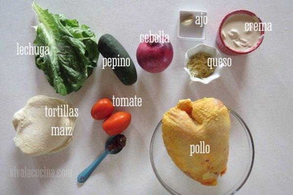 Ingredientes para la receta de los Tacos dorados de pollo