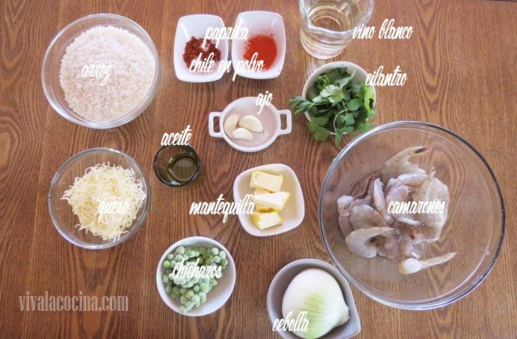 Ingredientes para preparar la receta de Risotto con Camarones
