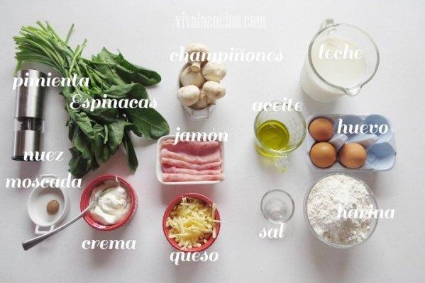 Ingredientes para preparar la receta de Crepas de Jamón, Champiñones y salsa de Espinacas