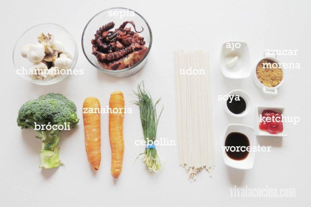 Ingredientes para la receta de Udon con Sepia
