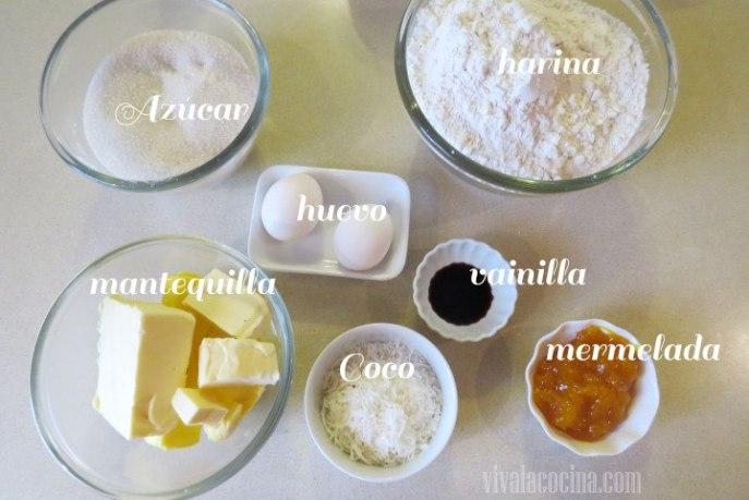 Ingredientes de las galletas de coco y mango