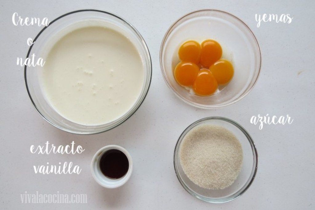 Ingredientes para preparar la receta de Creme Brulee