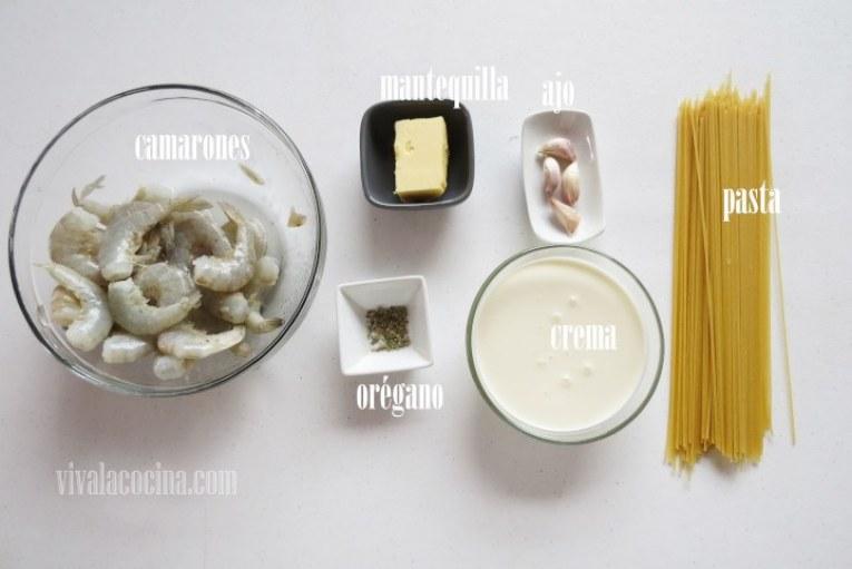 Ingredientes para Espagueti con Camarones