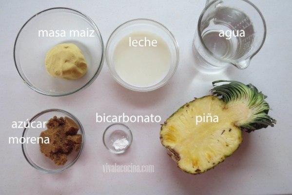 Ingredientes para la receta de Atole de Piña