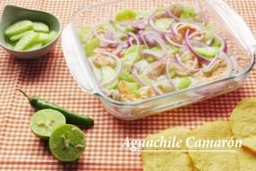 Aguachile de Camarón o gambas. Receta Mexicana tradicional
