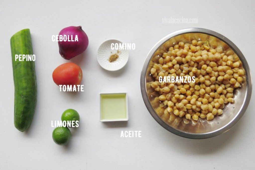 Ingredientes de la ensalada de garbanzos