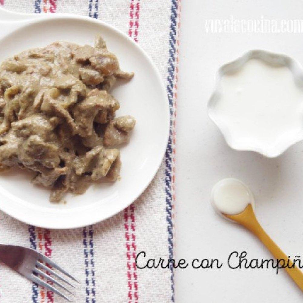 Receta de Carne con Crema y Champinones