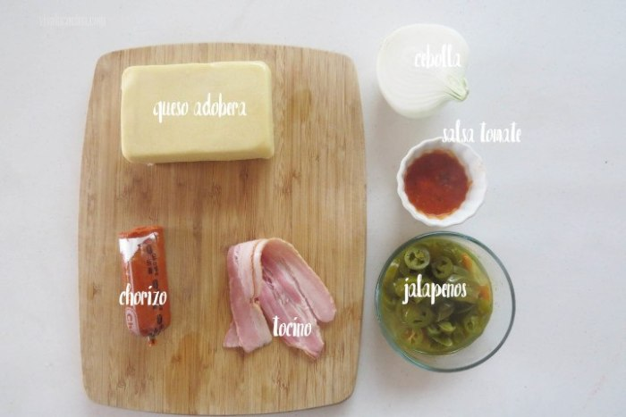 Ingredientes para el relleno de la pizza mexicana o pizza de jalapeños y chorizo