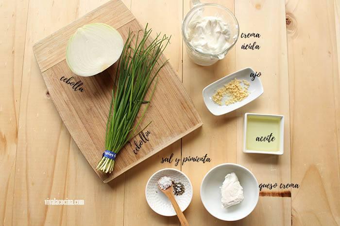 ingredientes para hacer aderezo de cebolla