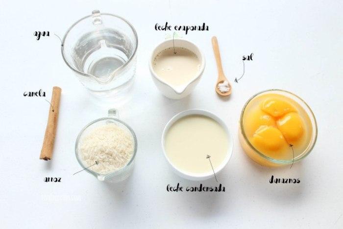 ingredientes para hacer polos de arroz con leche