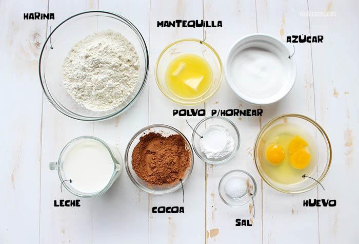 ingredientes para hacer Waffles de Chocolate caseros