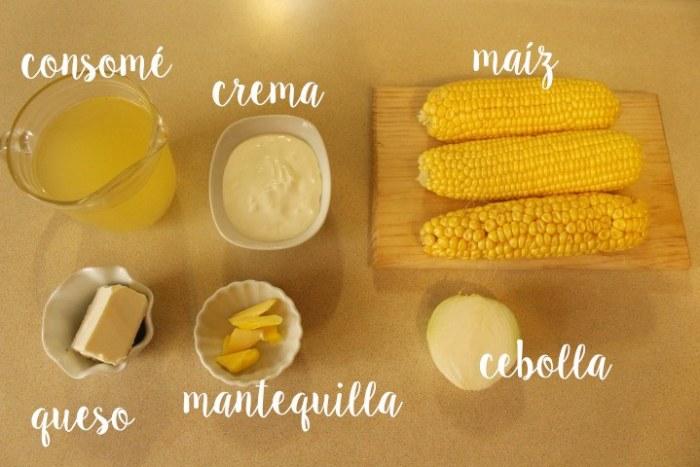 Ingredientes para hacer la crema de maíz amarillo